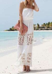 White Strapless Floral Crochet Maxi Dress
