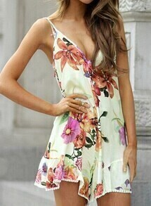 White Spaghetti Strap Backless Floral Jumpsuit