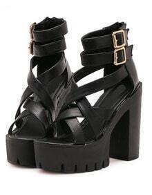 Black Ankle Strap High Heeled Sandals