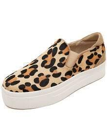 Brown Round Toe Leopard Heavy-bottomed Flats