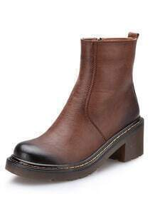 Brown Brush Round Toe Side Zipper Boots