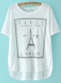 White Eiffel Tower Print Dip Hem T-Shirt