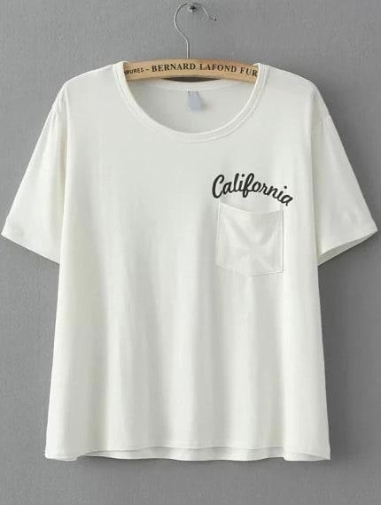 White Short Sleeve Letters Print Pocket T Shirt