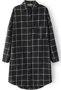 Lapel Dip Hem Plaid Black Blouse