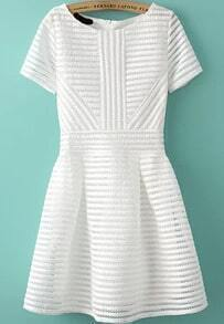 With Zipper Striped Flare White Dress