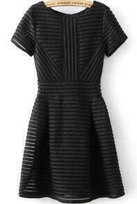 With Zipper Striped Flare Black Dress