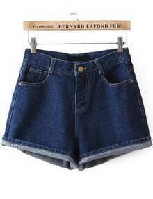 High Waist Cuffed Denim Navy Shorts