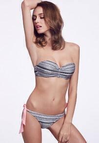 Black White Geometric Print Bikini Top