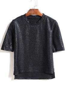 Dip Hem Loose Black T-Shirt