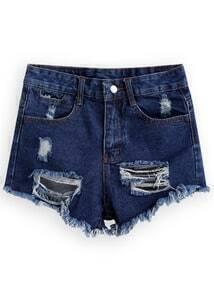Ripped Fringe Denim Shorts