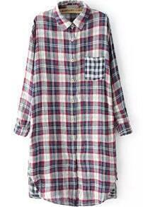 Lapel With Patch Pocket Plaid Red Blouse