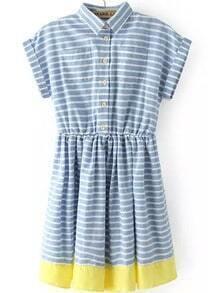 Lapel Striped Contrast Hem Shirt Dress