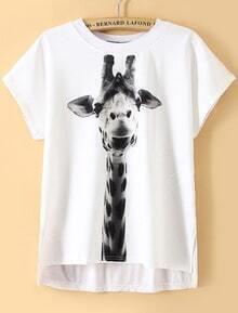 Dip Hem Giraffe Print T-shirt