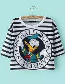 Striped Donald Duck Print Crop T-shirt