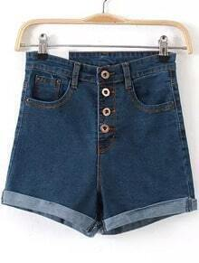 With Buttons Cuffed Denim Shorts