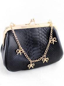 Black Crocodile Gold Chain Bow Bag