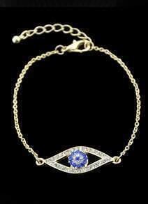 Gold With Diamond Eye Pattern Link Bracelet