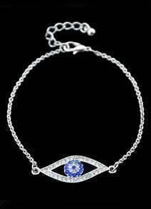 Silver With Diamond Eye Pattern Link Bracelet