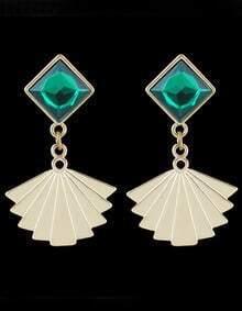Green Gemstone Fan Pattern Dangle Earrings