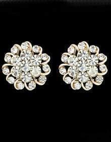 Gold With Diamond Stud Earrings