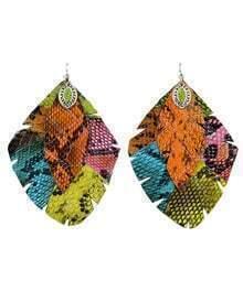 Multicolor Snakeskin Dangle Earrings