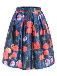 With Zipper Florals Flare Skirt