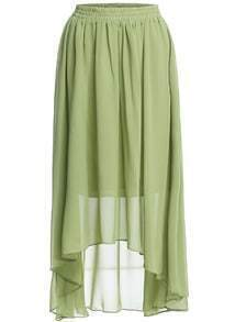 Elastic Waist High Low Chiffon Skirt