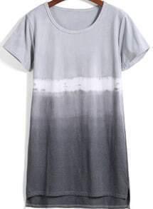Round Neck Dip Hem Ombre T-shirt
