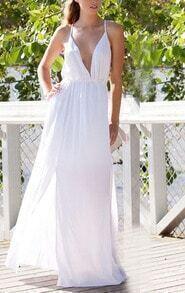 Deep Plunge Neck Backless Split Maxi White Dress