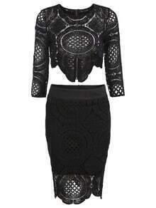 Lace Crochet Hollow Crop Top With Asymmetrical Hem Skirt