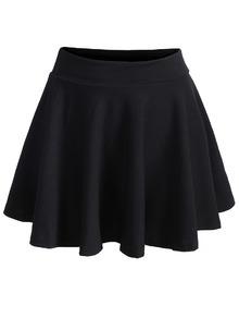 Waist Pleated Black Skirt