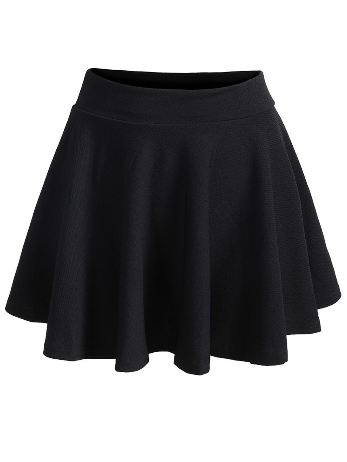 彈性腰 摺邊 黑色 裙子