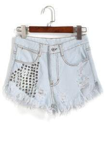 With Rivet Ripped Fringe Denim Wash Blue Shorts