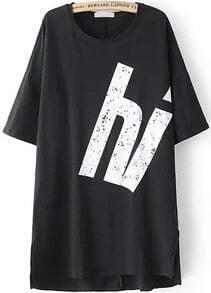 Dip Hem Letter Print Long Black T-shirt