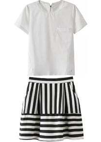 Lace Collar Zipper Top With Vertical Striped Skirt