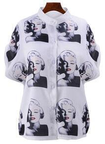 Stand Collar With Buttons Monroe Print Blouse