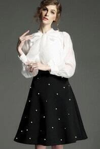 With Bow White Blouse