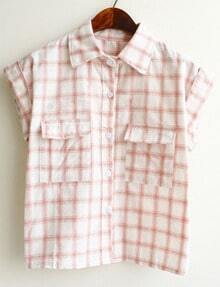 Lapel With Pockets Plaid Pink Blouse