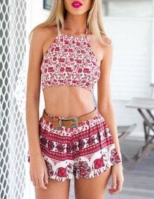 Halter Elephant Print Crop Top With Shorts