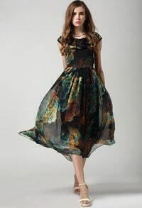 Vintage Florals Chiffon Pleated Dress