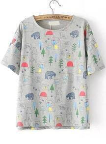 Forest Print Grey T-shirt