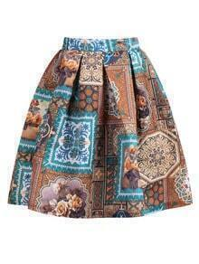 With Zipper Vintage Print Flare Skirt