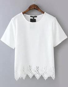T-Shirt trapèze en dentelle - Blanc
