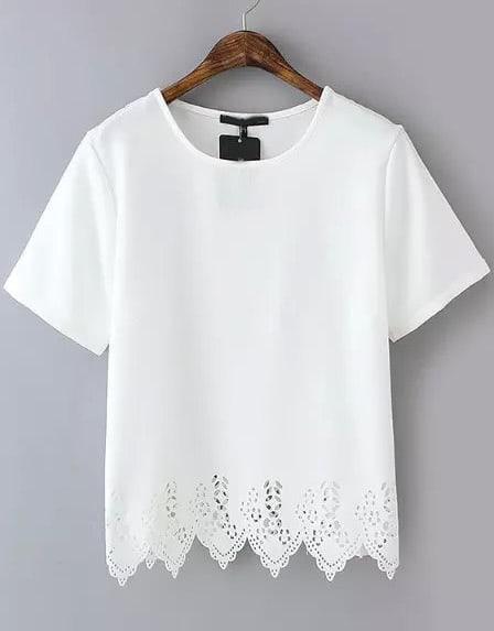 White Short Sleeve Lace Hem Chiffon T Shirt