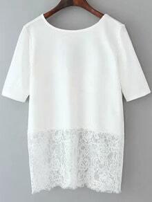 White Short Sleeve Lace Hem Backless Blouse