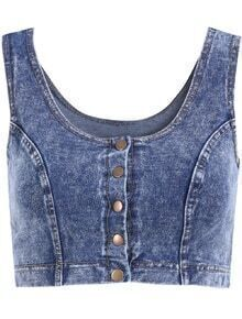 Scoop Neck Crop Denim Tank Top