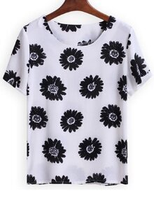 Round Neck Floral Loose T-Shirt
