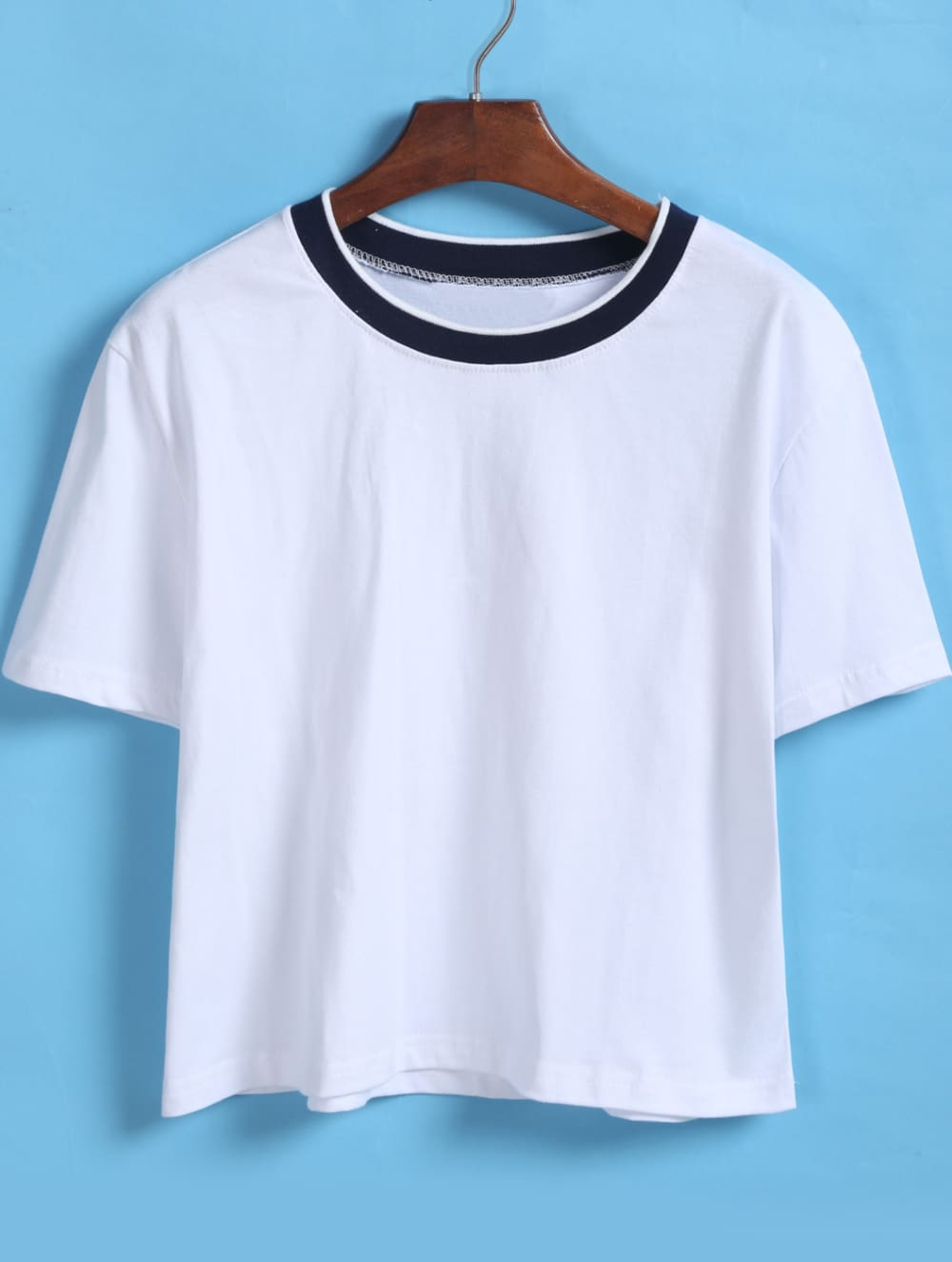 Contrast collar loose crop white t shirtfor women romwe for Cropped white collared shirt
