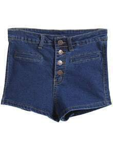 Buttons Straight Denim Navy Shorts