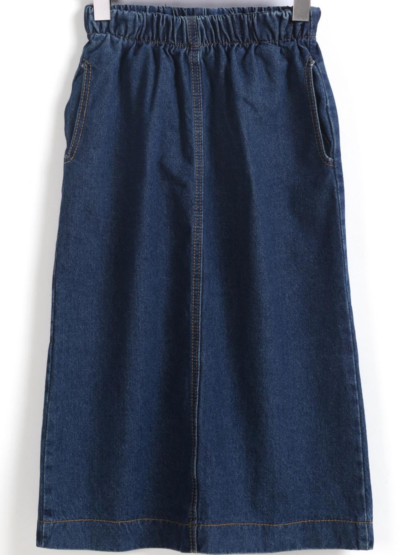 elastic waist split denim skirt